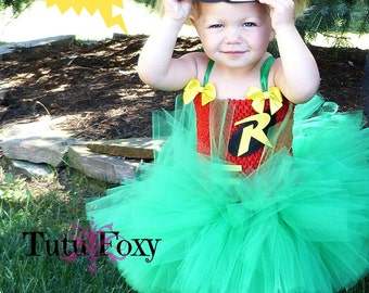 Robin Tutu Dress, Robin Costume, Super hero Tutu Dress, Super Hero Tutu, Super Hero Costume girls, Superhero costume