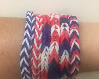 Red White Blue Rainbow Loom Colorful Fishtail Simple Bracelet USA (Proceeds donated to the Human Rights Campaign)