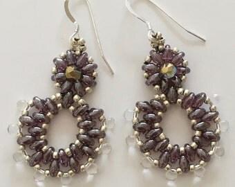 Smoky Amethyst Beaded Earrings