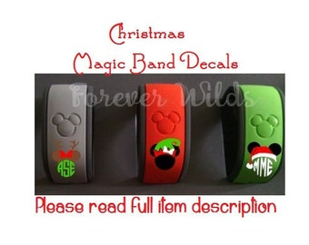 """Christmas Magic Band 2 Decal  - Monogra decal- full name - Christmas Character band - Monogram Decal - Disney Vacation - READ details - 1/2"""""""