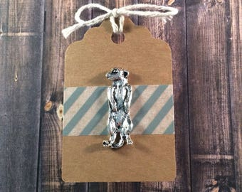 SALE! Meerkat Lapel Pin / Tie Tack - Silver Tone - Tack Backing with Clutch Clasp - Animal Pin