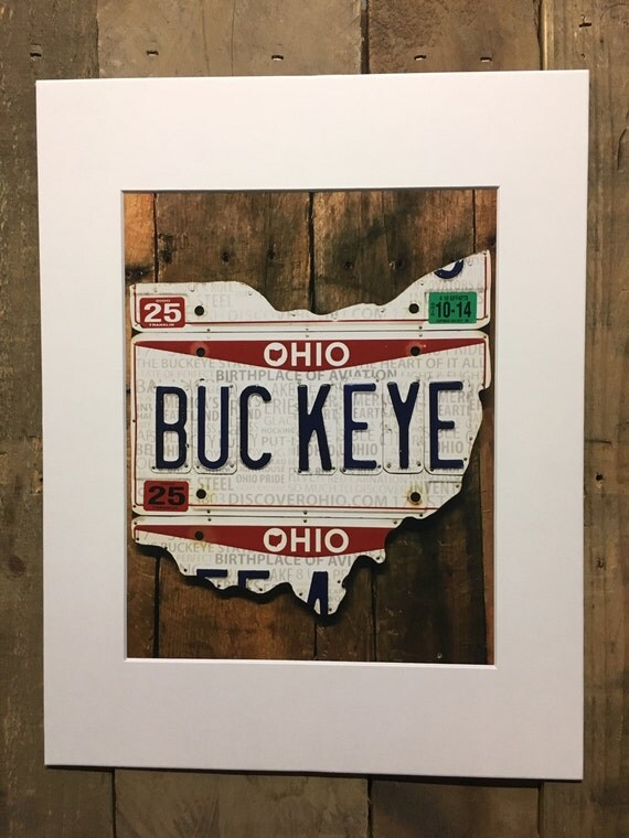 Buckeye License Plate Art Print 8 x 10 photo in 11 x 14 mat - Ohio license plate matted print