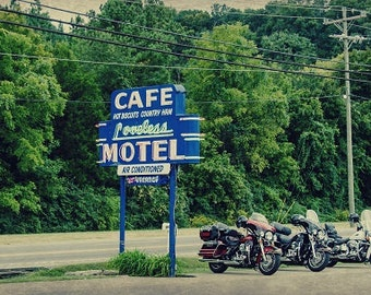 Loveless Cafe, Nashville Tennessee Photo,Fine Art Photography, Travel Photography, Blue Pink Neon Sign, Motorcycle Photo, Music City