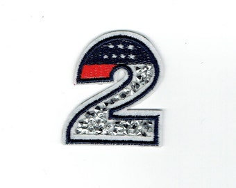 Number 2 - Crushed Crystals - Iron on Applique - Embroidered Patch - 604118