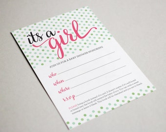 It's a Girl, Shower Write In Invitations (4.75 x 5.75)