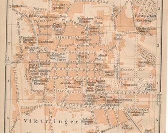 1905 Klagenfurt Austria Antique Map