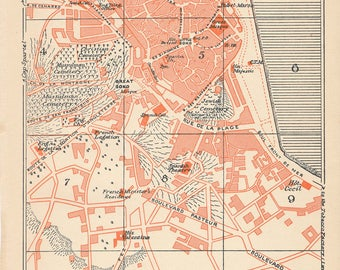 1929 Tangier Morocco Antique Map