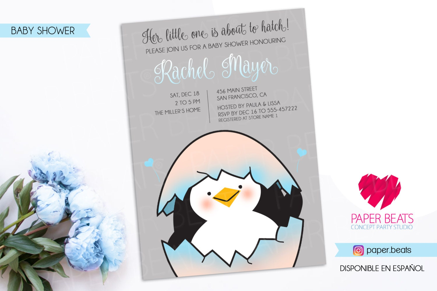 Its about to Hatch Invitation Penguin Baby Shower Invitation