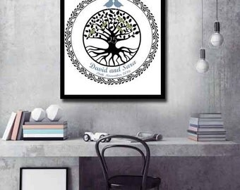 Personalized Anniversary gift for a couple Golden Anniversary gift Silver Anniversary gift Celtic tree print gift anniversary print