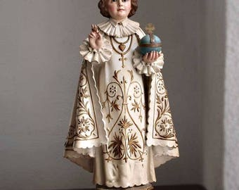 Infant Jesus of Prague Glass Eye Santos Statues Young Jesus Vintage Figure Antique Religious/380