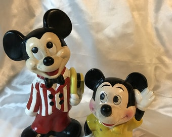 Vintage, DISNEY, MICKEY MOUSE Bank and Figurine