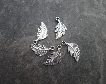 Silver Feather charms Package of 5 double sided Feather charms