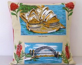 Sydney Cushion Cover Opera House Harbour Bridge Waratah Grevillea Australian Places Wildflowers Tea Towel Cushion Australiana Souvenir