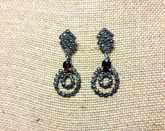 Garnet Marcasite Earrings ~ Think Downton Abbey ~ NBJ530