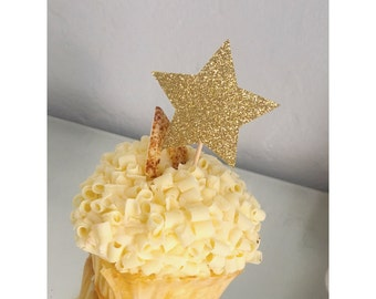 Star Cupcake toppers, Star Party, Twinkle Twinkle Little Star, Cupcake toppers, Gold Star cupcake, 1st birthday, Little Star - set of 12