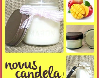 Mason Jar Candle - Soy Candle - Soy Scented Candle - Mango Papaya Candle - Mango Candle - Jar Candle - Just Because Gift - 4 or 8 oz