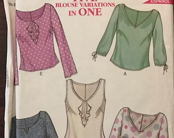 New Look 6015 - V or Scoop Neck Tops with Slip and Ruffle Options - Size 8 10 12 14 16 18