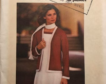 Butterick 4594 - 1970s Sew and Go Dress, Jacket, and Scarf - Size 12 Bust 34