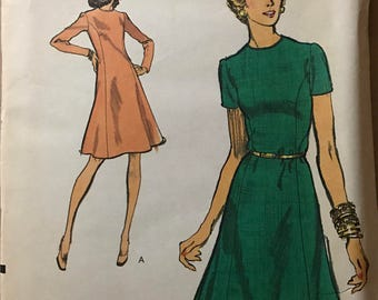 Vogue 8843 - 1970s Easy Princess Seamed Dress with Jewel Neck - Size 14 Bust 36