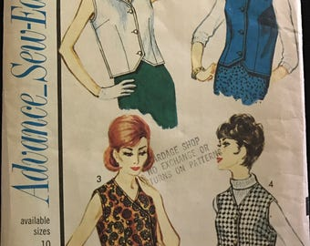 Advance 3318 - 1960s Sleeveless Top or Vest with Straight or Weskit Hem - Size 18 Bust 38