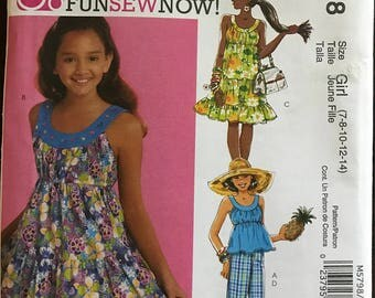 McCalls M5798 - Girls Summer Banded Collar Dress or Top and Pants - Size 7 8 10 12 14
