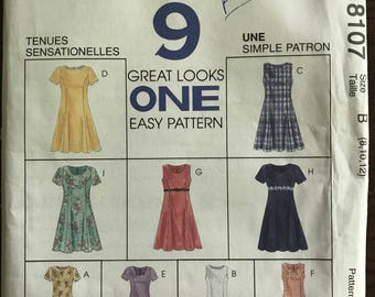 McCalls 8107 - Easy to Sew Summer Pullover Dresses with Princess Seams - Size 8 10 12 OR  10 12 14