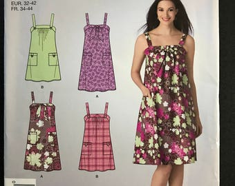 Simplicity 2421 - Easy to Sew Sleeveless Summer Dress with Gather or Bow Front Detail - Size 6 8 10 12 14 16