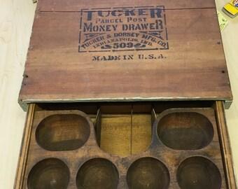 Antique Cash Register Till, Tucker's Lock Alarm Till, Country Store Till, General Store Till, Cash Till, Wood Till, Money Drawer
