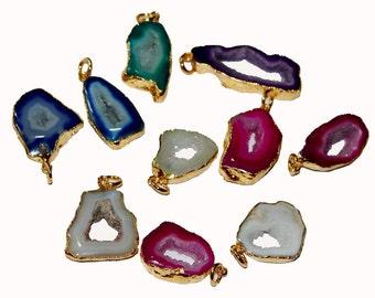 10 Pcs 28-35 mm 24k Gold Edged Multi Color Agate Druzy Geode Slice Pendant / Druzy Agate Geode Slice Single Loop Pendant DR06