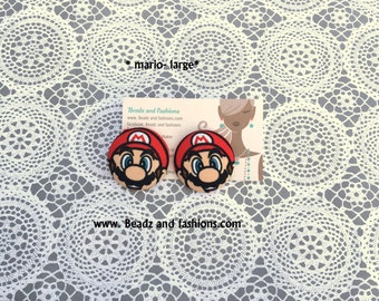 Mario fabric cover button earrings