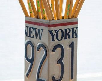 New York License Plate Pencil Holder - Pencil Cup - Pen Cup - Home Office - Desk Organizer - Office Decor - Pen Holder - Desk Decor