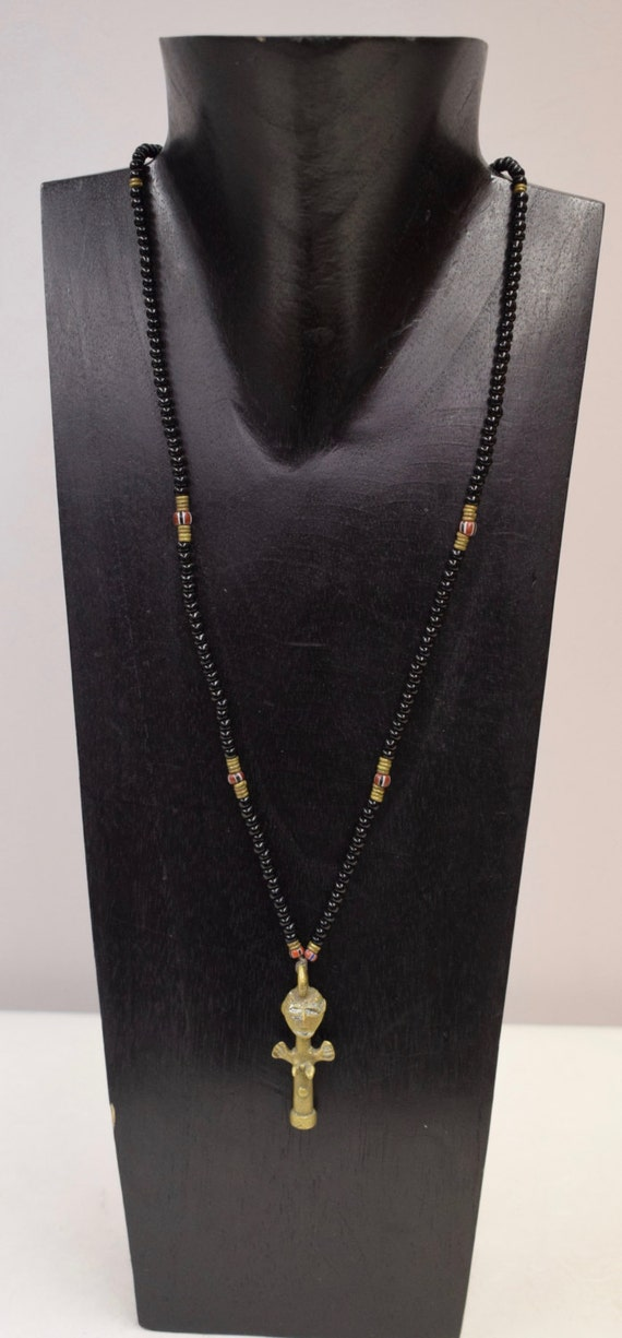 Necklace Vintage African Brass Ashanti Doll Pendant Handmade Black Glass Fertility Doll Beads Necklace One of a Kind G