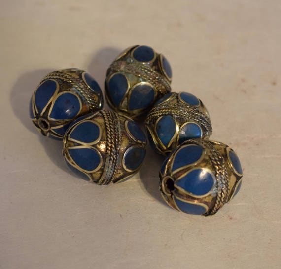 Beads Middle Eastern Blue Lapis Brass Oval Beads Handmade Handcrafted 5 Lot Blue Lapis Beads Brass Crafts Jewelry Beads