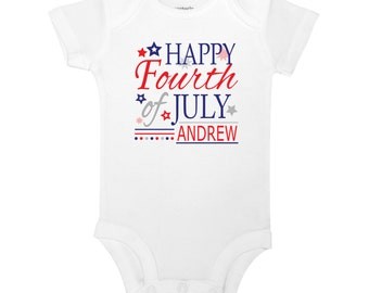 Personalize The Name - Happy 4th of July - Red White and Blue Baby One Piece Bodysuit or Toddler / Children's T-shirt