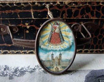 Antique French Religious Medal Glass Frame Reliquary Ex-Voto Wall hanging Church Catholic Relic Prayer Cross Holy Figure