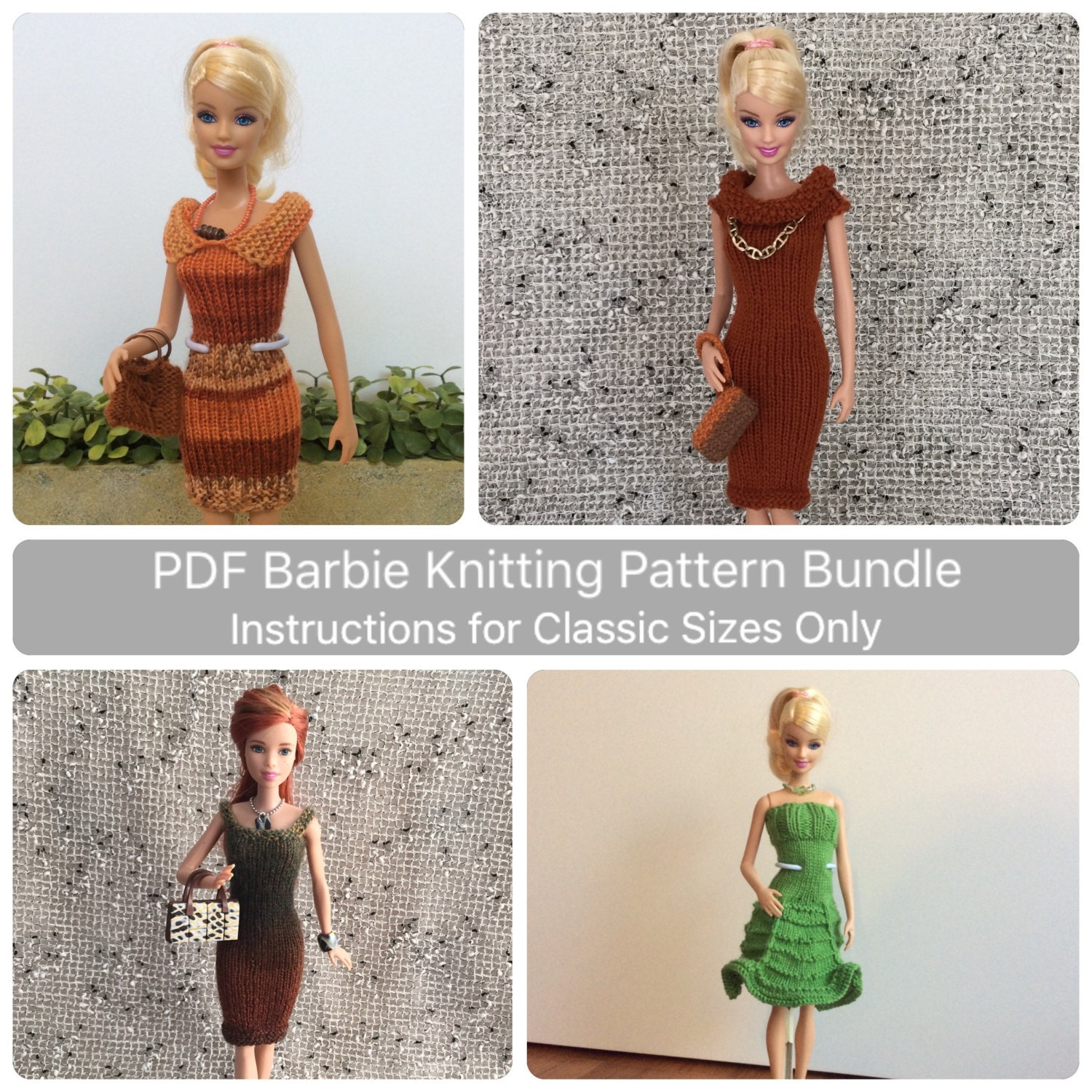 Barbie Knitting Patterns To Download : Classic Barbie Clothes Knitting Pattern Bundle for Essential