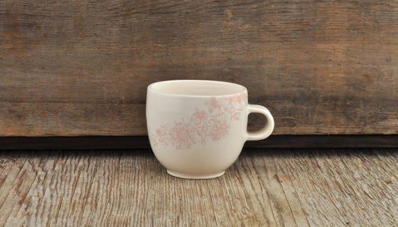 Porcelain espresso / tea cup with vintage pink flower illustration