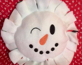 """Small Round Snowman Pillow approx 8"""" round - with ruffle 12"""""""