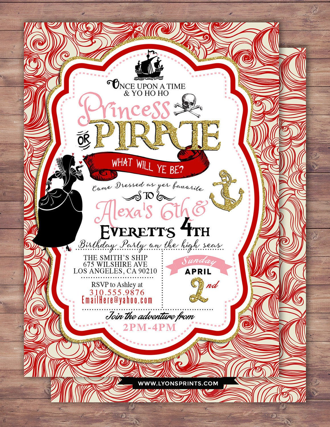 Pirate and Princess Party Invitations Personalised Pirate and – Pirates and Princess Party Invitations