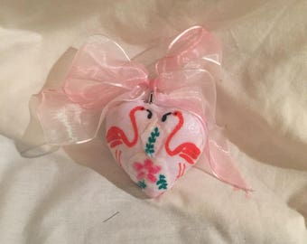 "Pink Flamingo and Flower Heart Ornament 3"" Pink Ribbon Bow"
