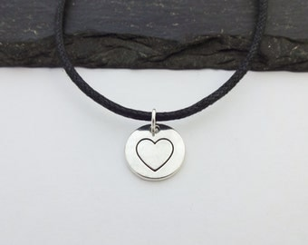 Heart Choker, Heart Necklace, Heart Cord Necklace, Charm Necklace, Heart Jewellery, Valentines Gift, Valentines Necklace, Choker Necklace