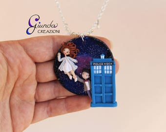 Doctor Who inspired necklace, handmade in polymer clay and resin