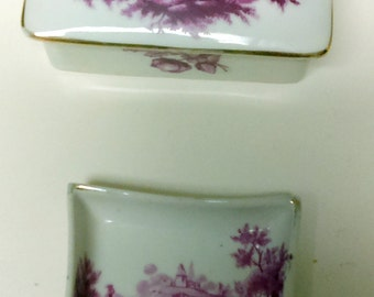 Vintage 1950's Maroon Landscape Scene Porcelain de France Cigarette Box and Ashtray