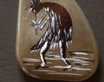 Kokopelli - stone - hand painted - ref: kokopelli 5