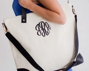 Monogrammed Tote Bag - White Canvas - Overnight Bag - Teacher gift - Graduation Gift - Weekender Travel Bag - Personalized Bag