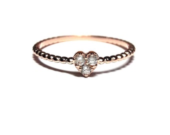 Heart Ring,Dainty Heart Ring,Thin Heart Ring,Rose Gold Ring,925K Silver Zirconia Haert Ring