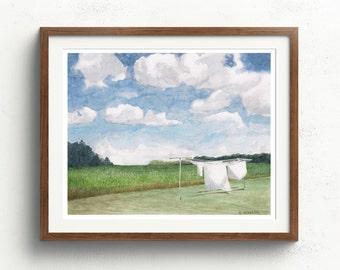 Laundry Room Decor - Laundry Room Art - Laundry Art - Farmhouse Art Print - Farmhouse Chic Style - Maryland Landscape Print - Wash Room Art