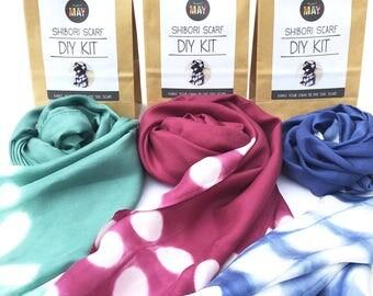 DIY Shibori scarf KIT, Promo 3 for 75, Silk scarf kit, Fall colors, tie dyed scarf kit, make your own shibori silk scarf, makes 3 scarves