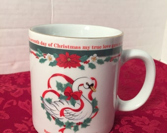 12 Days of Christmas Tienshan Mug 7th Day Seven Swans Swimming Vintage 80s Retro Holiday Kitchen