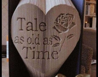 Tale as old as time cut and fold combination book folding pattern 499 pages Beauty and the Beast